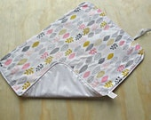 Organic leaf pattern wipeable baby change mat cover. change mat cover. nappy wallet change mat