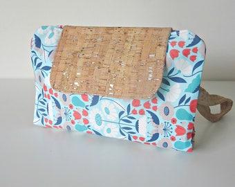 Cork fabric floral bird fabric nappy clutch. nappy wallet. diaper clutch. diaper wallet. diaper bag.