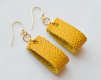 SPECKLED MUSTARD Leather Earrings- YellowLeather Earrings- Statement Earrings
