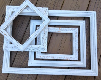 Gallery Wall Picture Frame Set, White Frames, Farmhouse Decor, Shabby Chic Frames, Nursery Frame Set, Distressed Frames, Picture Frame
