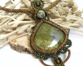 Crystal Necklace Serpentine pendant, Forest fairies macrame necklace, green and brown jewelry, gemini, scorpio, heart chakra