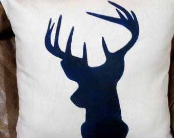 Deer Pillow Cover - Buck Pillow cover - animal pillows - gift for him - Fathers Day gift - hand painted deer pillow