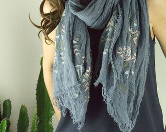 Boho scarf in denim blue with embroidery and fringe
