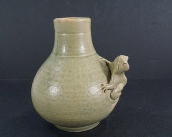 Stoneware Pottery, Ceramic Pottery Vase, Small Green Vase with Frog Relief, Raised Green Frog Vase, Frog Decor, Free Shipping