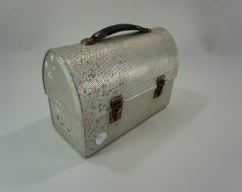 Vintage Lunchbox, Domed Lunchbox, Lot B Silver Metal Lunch Pail, Flower Box, Planter, Metal Planter, Up-cycled Re-cycled Free Ship