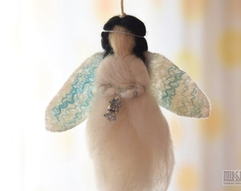 Needle felted angel, Christmas ornaments, Felted fairy, Christmas angel, Winter holidays, White gift for girl,Guardian angel,Angel ornaments