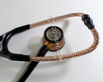 Littmann Cardiology III, or Your Brand, STETHOSCOPE with 24K Rose Gold Swarovski Crystals