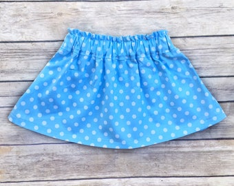 Baby Skirt, Toddler Skirt, Blue Polka Dot Skirt, High Waisted Skirt, Light Blue, Girls Skirt, Baby Girl Clothes
