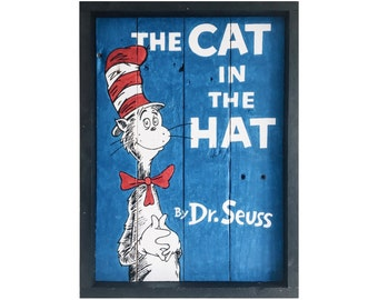 The Cat in the Hat, Dr Seuss, Handpainted wall art, Classic Book, Reclaimed pallet wood, Childrens room, Nursery