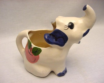 Vintage Elephant Creamer Pitcher One of a Kind Handmade 1946 Ceramic Collectible