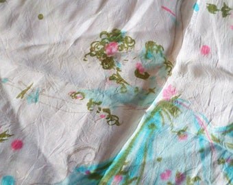 Sheer Vintage Delicate Scarf With Dancing Ladies And Flowers / Blue Border / Ladies Dancing With Flowers / Dancing With Roses /