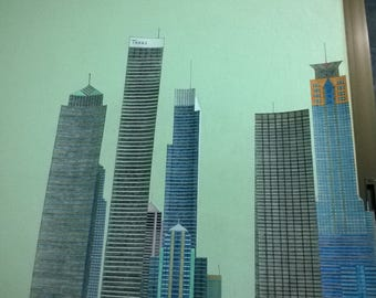 Paper City with 17 Paper Skyscrapers Hand Made 100%