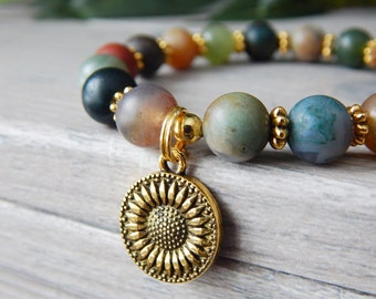 Sunflower Bracelet, Agate Bracelets, Agate Jewelry, Nature Jewelry, Flower Bracelet, Sunflower Charm Bracelet, Colorful Gemstone Bracelet