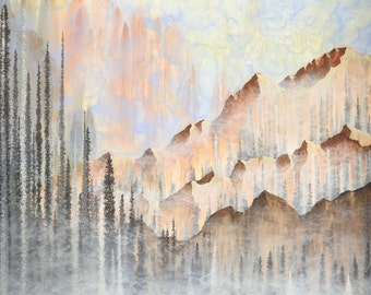 """Original Acrylic Painting, """"Afterburn"""" - Mountain and Forest Ethereal Landscape Art, 60"""" x 48"""""""