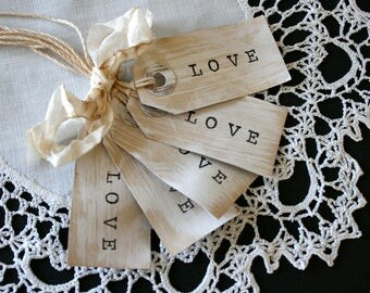 Love Gift Tags // Cottage Style Gift Tags // Set of 4 Gift Tags //  Whitewashed Love tags