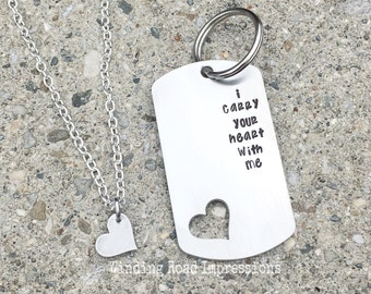 I Carry Your Heart NEW STYLE- Personalized Hand Stamped Dog Tag Keychain and Necklace Set