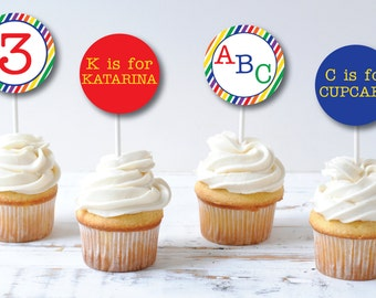 ABC Birthday Party Cupcake Toppers - Cupcake Topper/Wrapper Set - Alphabet Birthday - Party Circles - DIGITAL DESIGN