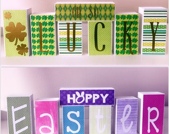 Reversible St. Patrick's Day & Easter Blocks