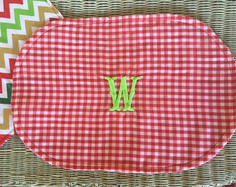 Set of 4 Monogrammed reversible Christmas placemats Red white chevron gingham