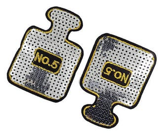 Iron On Sequined Perfume N'5 Patch Applique with Silver Sequins