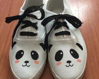 Panda Shoes. Hand painted panda face shoes. Panda