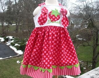 red strawberry knot dress,  strawberry shortcake birthday, strawberry 1st birthday, 2nd birthday party dress, strawberry birthday