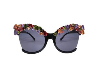 Women's Large Abstract Sunglasses with Cubic Zirconia's  - VENUS