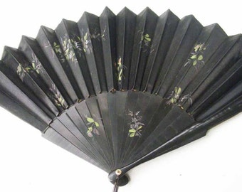 Beautiful antique Victorian black fan, wood and fabric with loop and tassel, handpainted flowers