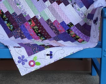 Handmade Baby Quilt Cotton Purple Log Cabin Variation