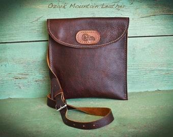 Bison  Leather Crossbody Bag with adjustable shoulder strap