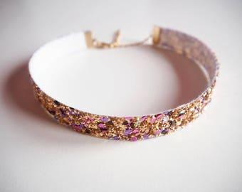 Pale Gold Rainbow Glitter Choker, Sparkly Gold Choker, Sparkly Rainbow Necklace, Gold Glitter Choker, Gold Glitter Necklace, Gold Choker,