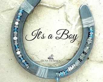 It's a Boy Personalized Horseshoe | Baby Shower | New Baby Boy | Blue Horseshoe | Blue Swarovski Crystal Horseshoe | Lucky Horseshoe
