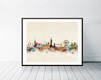 london city skyline. london england skyline.london cityscape. colorful watercolor skyline.Giclee art print.color your world with bri.