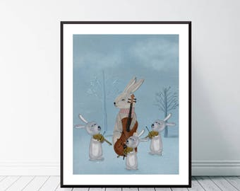 the bunny quartet .colorful nature illustrations.mrs bunny and little bunnies.nursery and home nature wall art.color your world with bri.b.