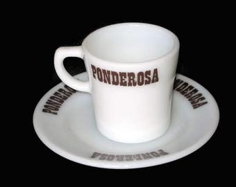 Vintage Pyrex Ponderosa Mug White Milk Glass Restaurant Ware Coffee Cup Saucer Advertising Steak House Restaurant Retired Farm House Decor