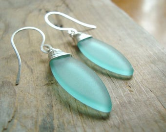 Seafoam Sea Glass Leaf Earrings Sterling Silver Wire Wrapped Summer Fashion Beach Glass Beachy Jewelry Modern Geometric Gifts Under 40