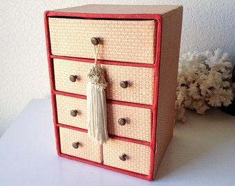 Vintage Paper Drawer Box Red Cubbies Craft Organizer Shabby Cardboard Mini Table  Top Storage