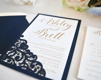 Navy Blue, Blush and Gold Wedding Invitation (SAMPLE LISTING) -Lace Laser Cut Romance