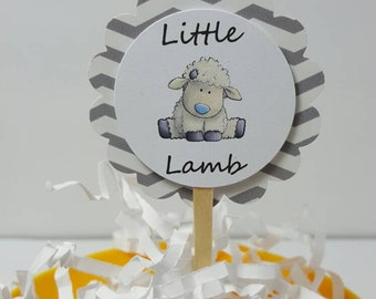 Lamb baby shower - lamb favors - lamb cupcake toppers - lamb decorations - lamb party - little lamb - chevron baby shower - chevron lamb