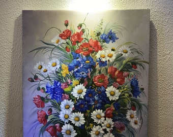 Vintage Oil painting Still Life with Flowers 24x32''
