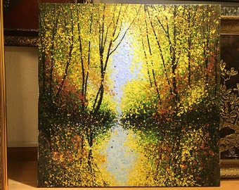 Golden Autumn ACRYLIC painting on Canvas 32x32''