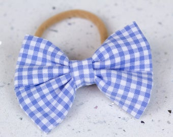 Blue Gingham Bow & Bow tie