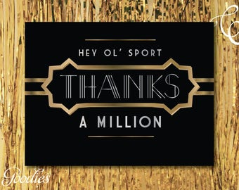 Gatsby / 1920s / Retro Thank You Card - Printable