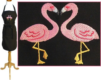 Flamingo Heart Apron Tropical Vacation Cookout Child Youth Adult Size + Free Name Monogram Custom Embroidered Art Smock