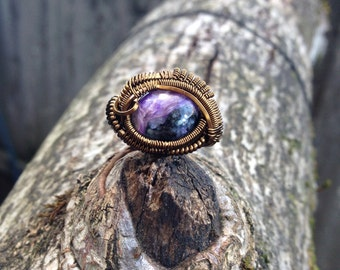 Size 6.5 •Charoite• antique bronze wire wrapped ring