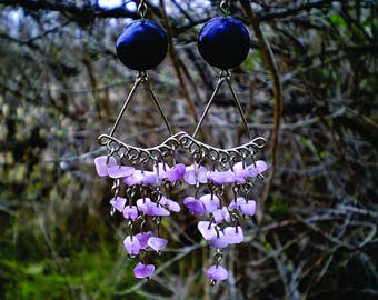 Wire chandelier earrings with seeds and stones, black, purple, stone earrings, beach, seed earrings, woman