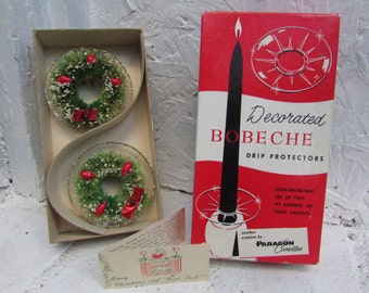 VINTAGE Decorated Bobe Che Paragon Candle Drip Protectors with Bottle Brush Wreath.  Christmas NOS. In Original Box. Oshkosh, Wisconsin
