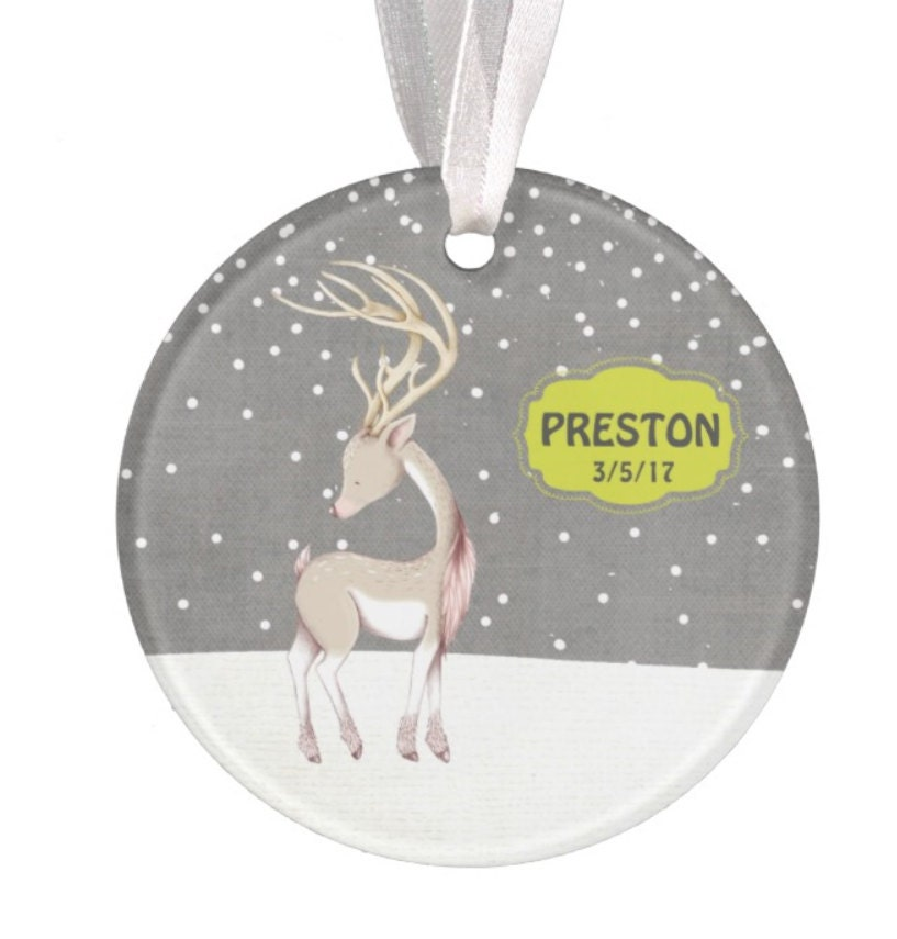 Baptism Ornament Christmas Ornament By Ryellecreations On Etsy: Baby Ornament Personalized Christmas Ornament Deer Ornament