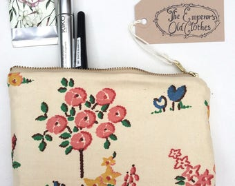 Vintage floral cotton Make Up Bag cute padded handmade zip case pouch  from The Emperor's Old Clothes