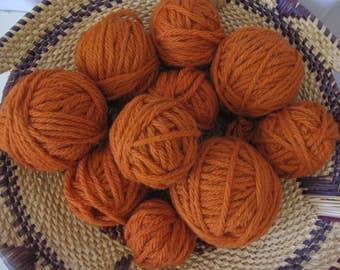 Destash Yarn - Pumpkin Orange Oddballs! - Wool-ease Chunky - 7.6 oz. - Wool Acrylic Blend Leftovers - New and Unused